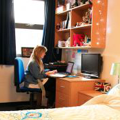 Student at on of Bucks New Uni accommodation rooms